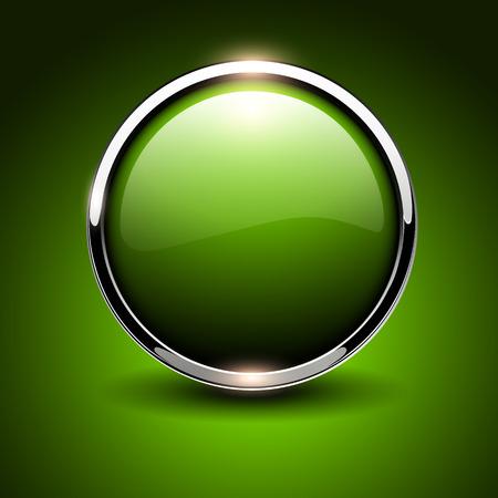Shiny button green glossy metallic, vector illustration Vector