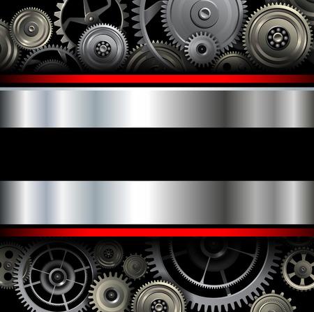 Background metallic with technology gears, vector illustration. Çizim