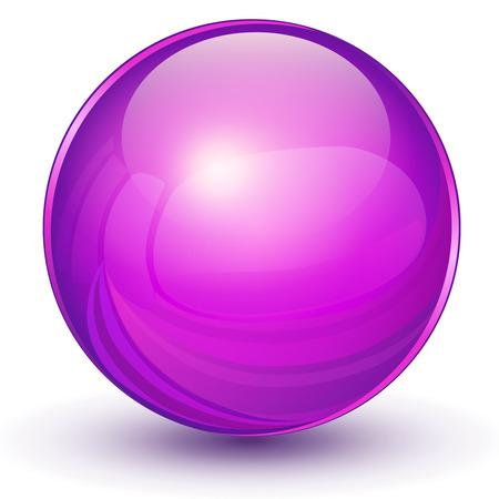 Esfera 3D, bola violeta.