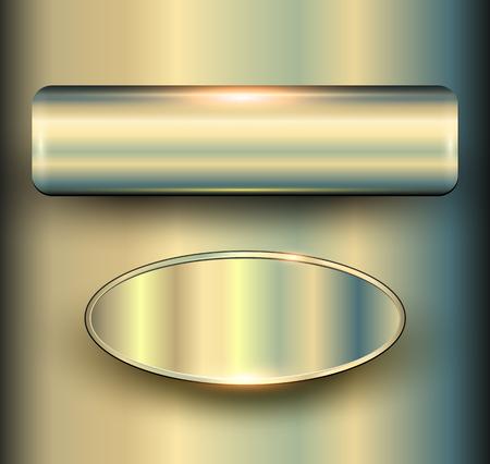 metal frame: Banners 3D metallic backgrounds. Illustration