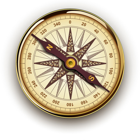 Compass with windrose, retro vector design. Illustration