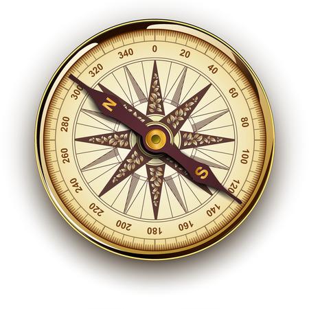 longitude: Compass with windrose, retro vector design. Illustration
