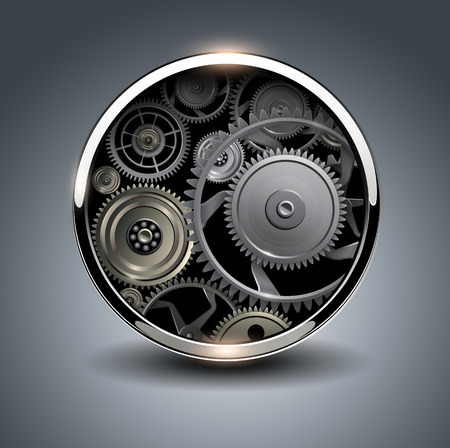 rackwheel: Abstract background metallic chrome 3D button with gears, vector. Illustration