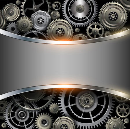 metal gears: Abstract background metallic chrome silver with gears, vector.