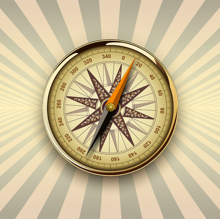 Background with compass on burst background, retro vector design. Vector