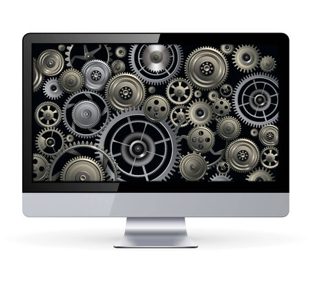 rackwheel: Monitor with technology gears inside, vector design.