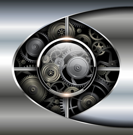 rackwheel: Abstract background 3D metallic with technology gears, vector.