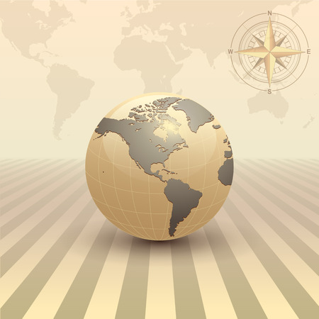 windrose: Abstract business background, retro sepia style with earth globe, vector. Illustration