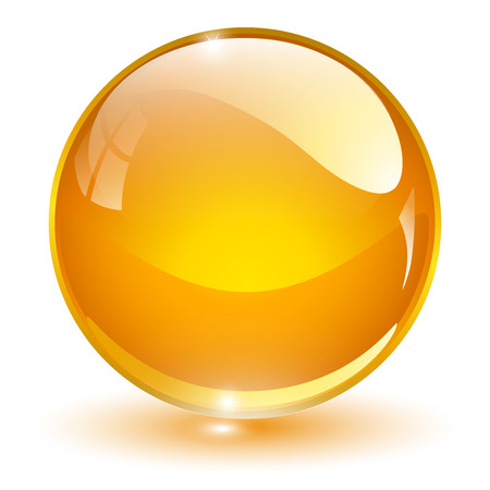 crystal button: Glass sphere, orange vector ball.