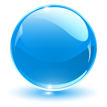 shiny button: Glass sphere, blue vector ball.