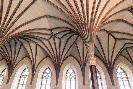 symetry: Gothic hall in Malbork castle, Poland. World Heritage List UNESCO.