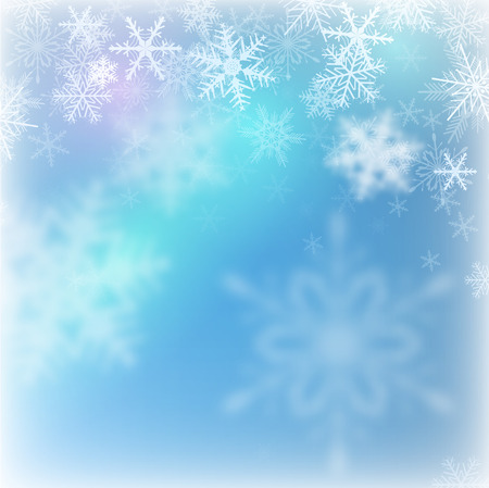 blue backgrounds: Christmas background with snowflakes, vector illustration.