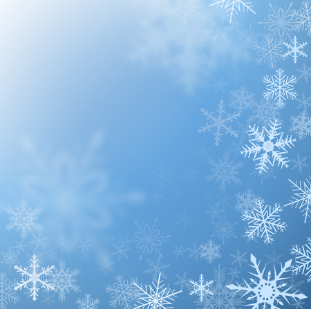 snow crystals: Winter frozen background with snowflakes, vector.