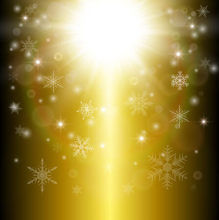 Christmas background with snowflakes and lights, vector illustration. Vector