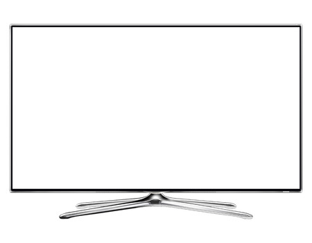 TV, modern television monitor isolated with white screen. Vector