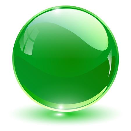 Glass sphere, green vector ball. Illustration