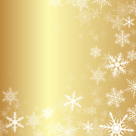 Christmas gold winter background with snowflakes, vector.