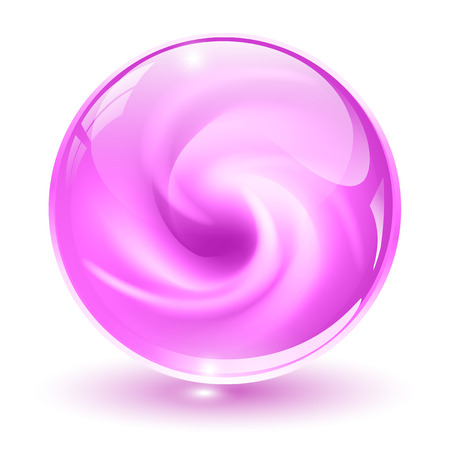 3D crystal, glass sphere, pink with abstract spiral shape inside illustration. Vector