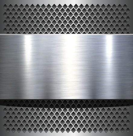 grey backgrounds: Metal plate texture polished metal background illustration. Illustration