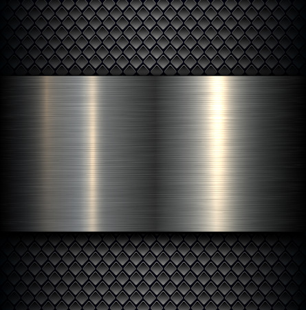 carbon steel: Metal plate texture on carbon fiber background, vector illustration.