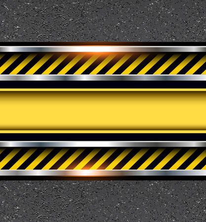 tarmac: Background with warning stripes on vector asphalt texture.