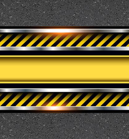 hazard symbol: Background with warning stripes on vector asphalt texture.