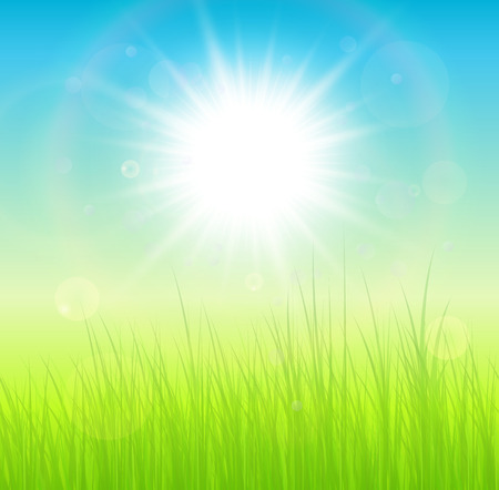 fondo natural: Soleado natural de fondo verde, ilustraci�n vectorial. Vectores
