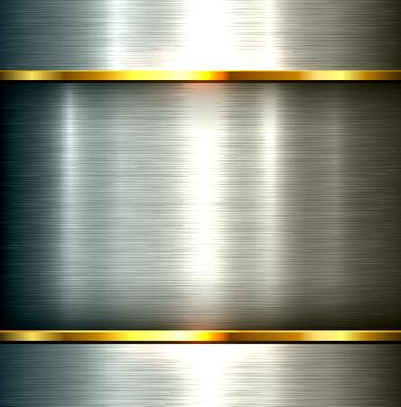 plech: Leštěný kov pozadí, vektor ocelového plechu textury. Ilustrace