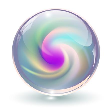 3D cristallo, sfera di vetro con forma a spirale astratta dentro, illustrazione vettoriale.