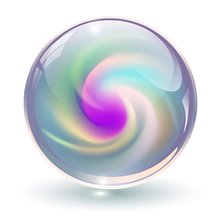 crystal button: 3D crystal, glass sphere with abstract spiral shape inside, vector illustration.