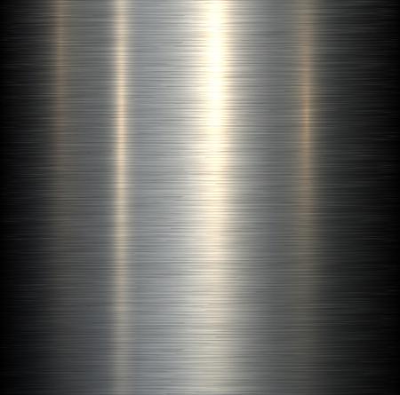Fondo de metal de acero cepillado textura metálica con reflejos. Vectores