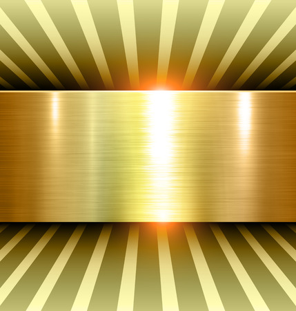 Shiny Gold Background 3d with metal texture, vector. Stock Illustratie