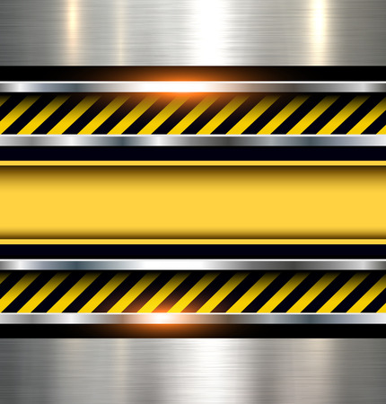 Background with warning stripes on vector metal texture. Illustration