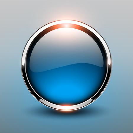 Button blue glossy, shiny metallic, vector illustration