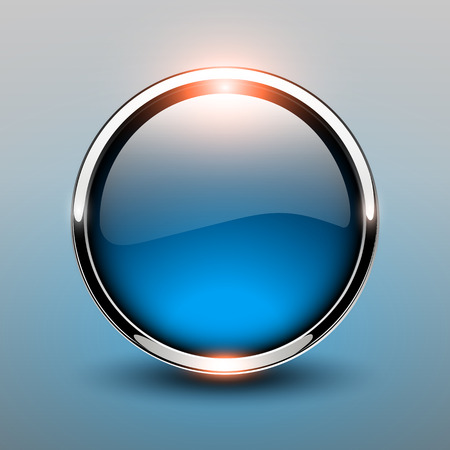 Button blue glossy, shiny metallic, vector illustration