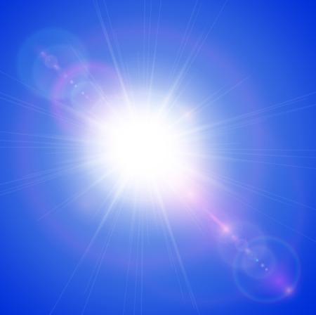 lens flare: Sole con lens flare, sfondo vettoriale.