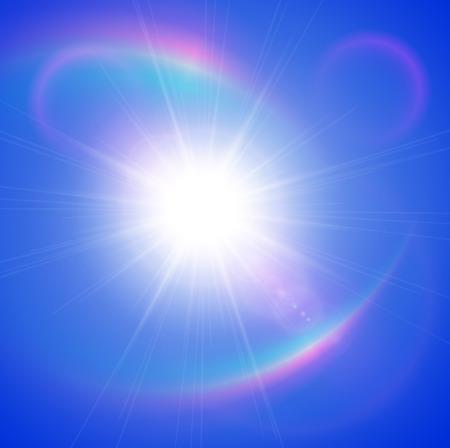 Sun with lens flare, rainbow effect, vector background.