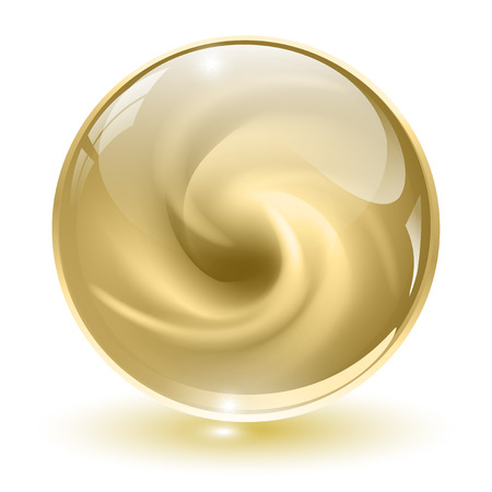 3D crystal, glass sphere, beige with abstract spiral shape inside, vector illustration.
