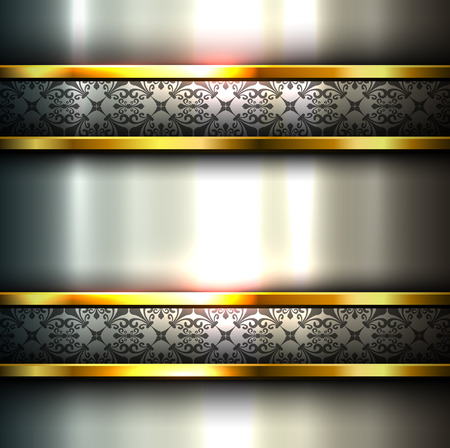 metallic banners: Abstract background metallic with ornaments on banners, vector.