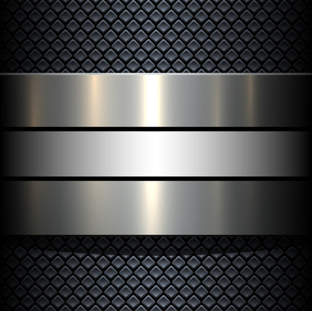 Background 3d metallic banner on seamless grey pattern, vector illustration. Vettoriali