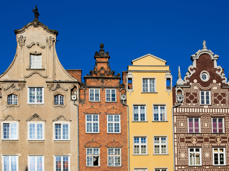 gdansk: Colorful houses - tenements in old town Gdansk, Poland Stock Photo