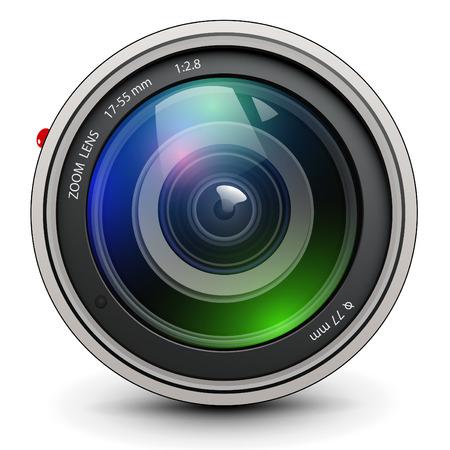 telephoto: Camera photo lens, vector.