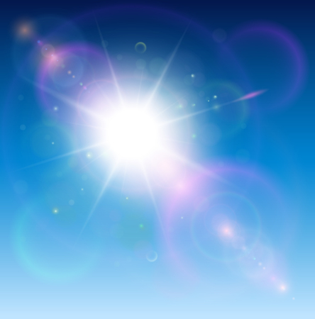 lens: Sun with lens flare, vector background.