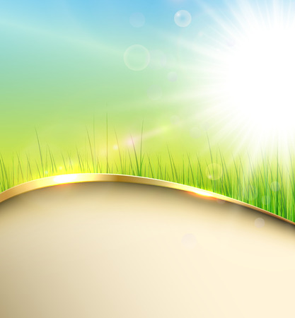 Sunny green background with elegant abstract wave, vector.