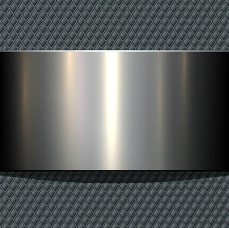 chequer: Background 3d metallic banner on seamless grey pattern, vector illustration. Illustration