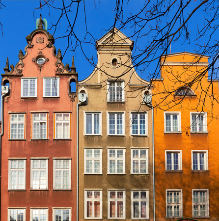 Colorful houses - tenements in old town Gdansk, Poland Stock Photo