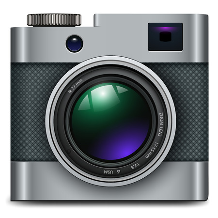 light reflex: Photo camera icon - vintage, retro vector design.