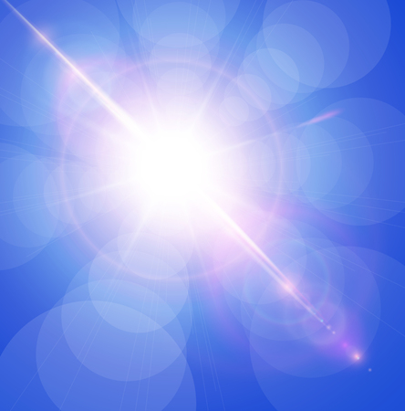 blue star background: Sun with lens flare, vector background.
