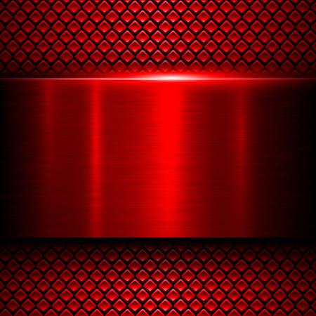 fibra de carbono: Antecedentes textura del metal rojo, ilustración vectorial.