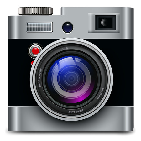 reflex: Photo camera icon - vintage, retro vector design.
